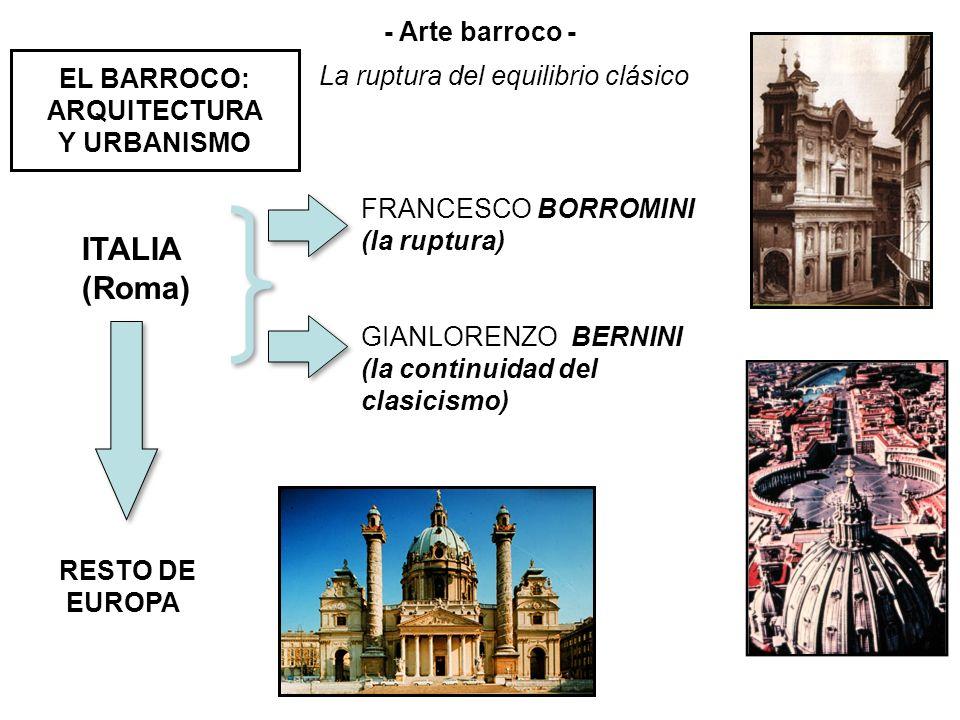 EL BARROCO: ARQUITECTURA Y URBANISMO ITALIA (Roma) FRANCESCO BORROMINI (la ruptura) GIANLORENZO BERNINI (la continuidad del clasicismo) RESTO DE EUROP