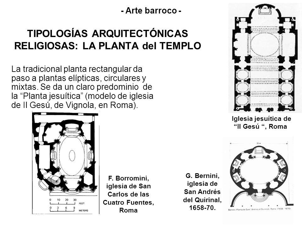 TIPOLOGÍAS ARQUITECTÓNICAS RELIGIOSAS: LA PLANTA del TEMPLO La tradicional planta rectangular da paso a plantas elípticas, circulares y mixtas. Se da