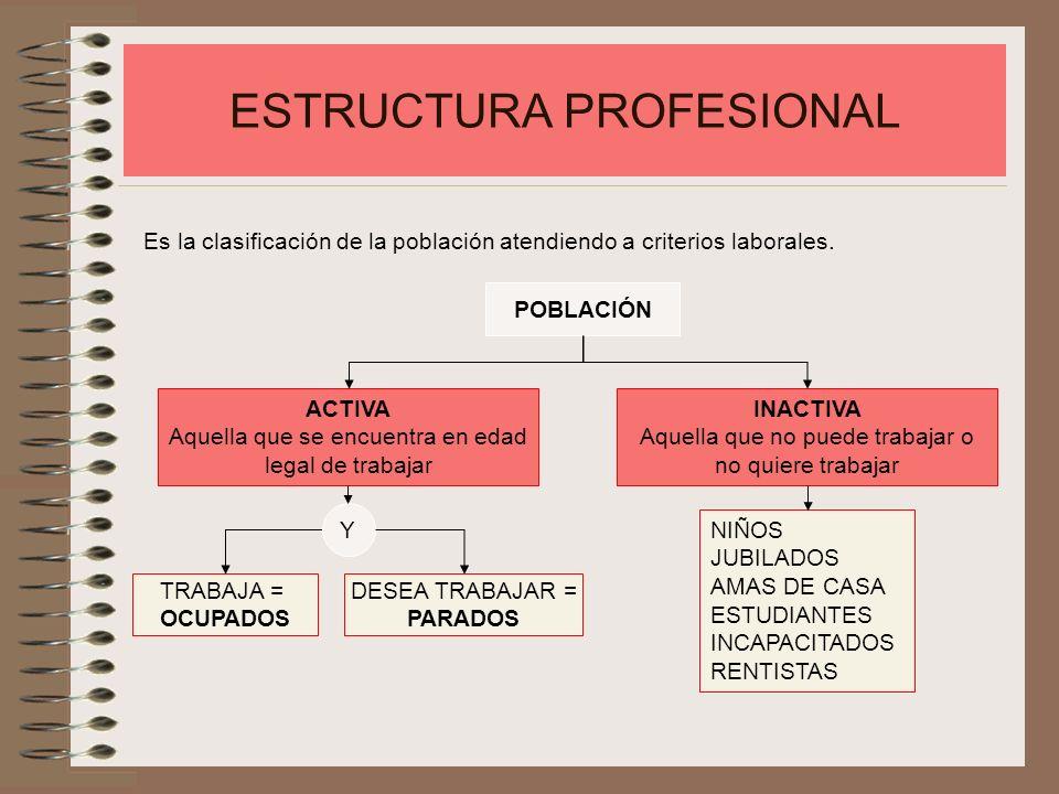 ESTRUCTURA PROFESIONAL Es la clasificación de la población atendiendo a criterios laborales. POBLACIÓN ACTIVA Aquella que se encuentra en edad legal d