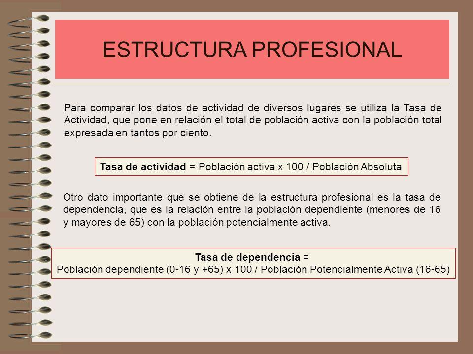 ESTRUCTURA PROFESIONAL La población activa se clasifica en los tres sectores profesionales: Primario: que incluye las actividades relacionadas con la agricultura, ganadería, explotación forestal y pesca.