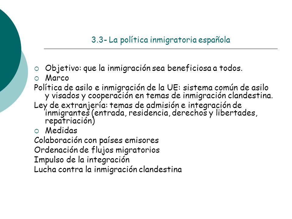 3.3- La política inmigratoria española Objetivo: que la inmigración sea beneficiosa a todos. Marco Política de asilo e inmigración de la UE: sistema c