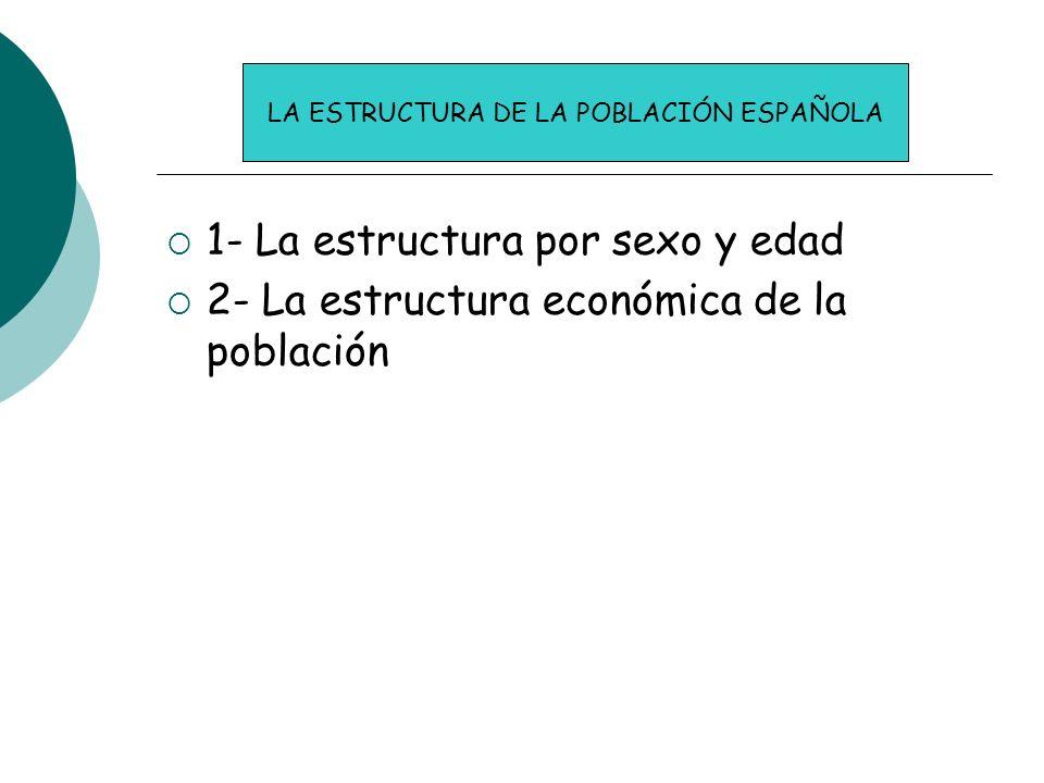 1- La estructura por sexo y edad 2- La estructura económica de la población LA ESTRUCTURA DE LA POBLACIÓN ESPAÑOLA