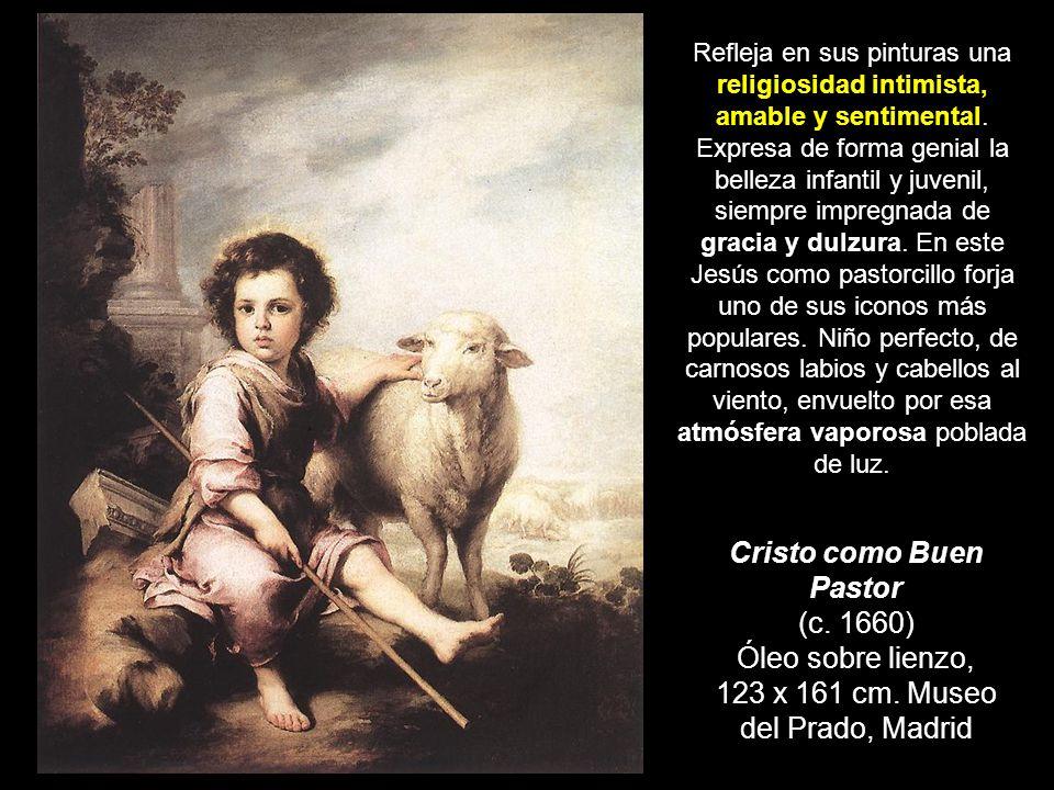 Cristo como Buen Pastor (c. 1660) Óleo sobre lienzo, 123 x 161 cm. Museo del Prado, Madrid Refleja en sus pinturas una religiosidad intimista, amable