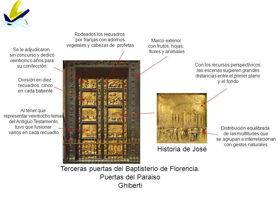 Terceras puertas del Baptisterio de Florencia. Puertas del Paraiso Ghiberti Historia de José División en diez recuadros: cinco en cada batiente Distri