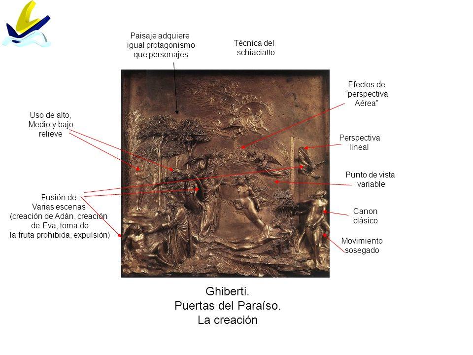 Ghiberti. Puertas del Paraíso. La creación Fusión de Varias escenas (creación de Adán, creación de Eva, toma de la fruta prohibida, expulsión) Movimie