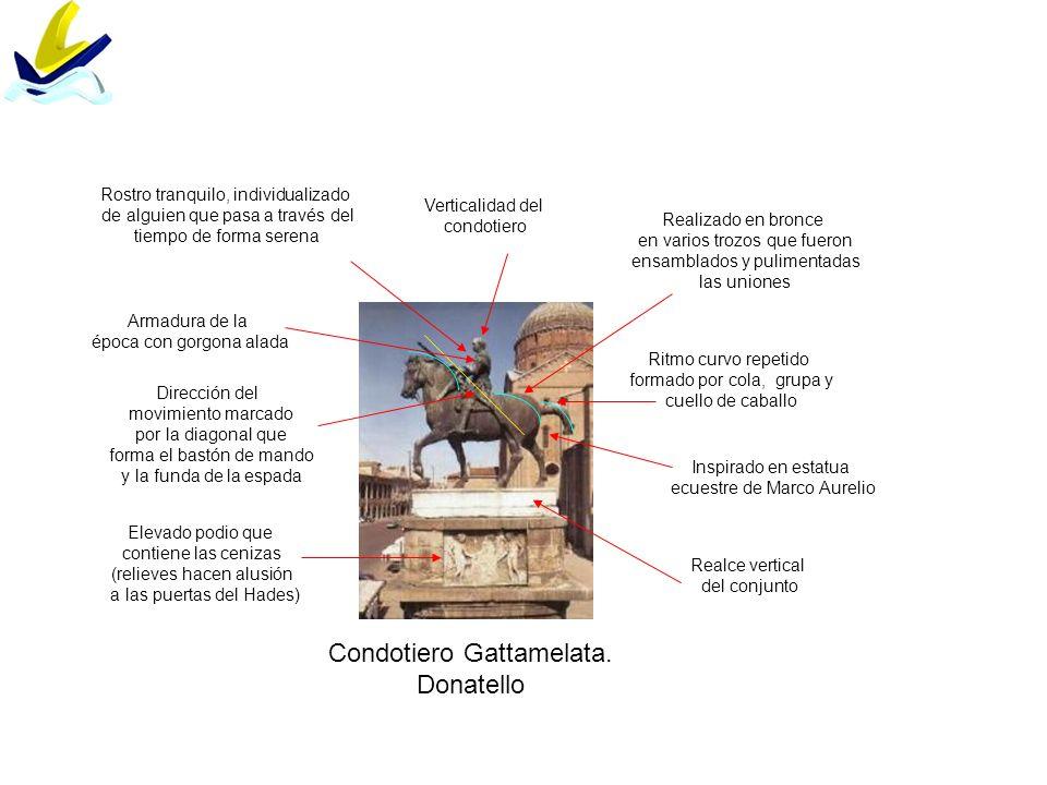 Condotiero Gattamelata. Donatello Ritmo curvo repetido formado por cola, grupa y cuello de caballo Verticalidad del condotiero Dirección del movimient