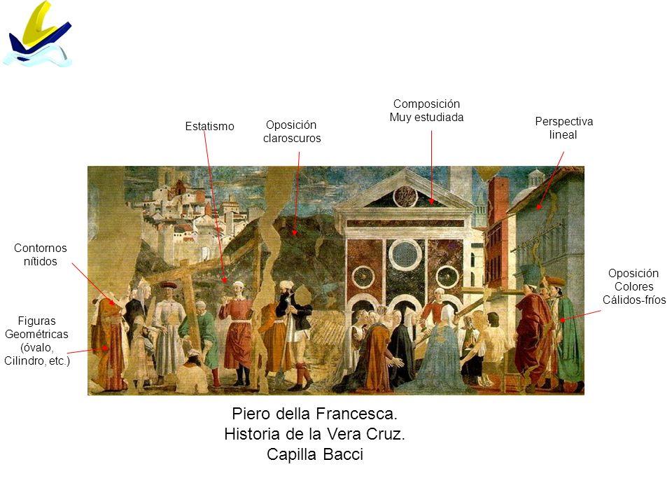 Piero della Francesca. Historia de la Vera Cruz. Capilla Bacci Composición Muy estudiada Figuras Geométricas (óvalo, Cilindro, etc.) Contornos nítidos