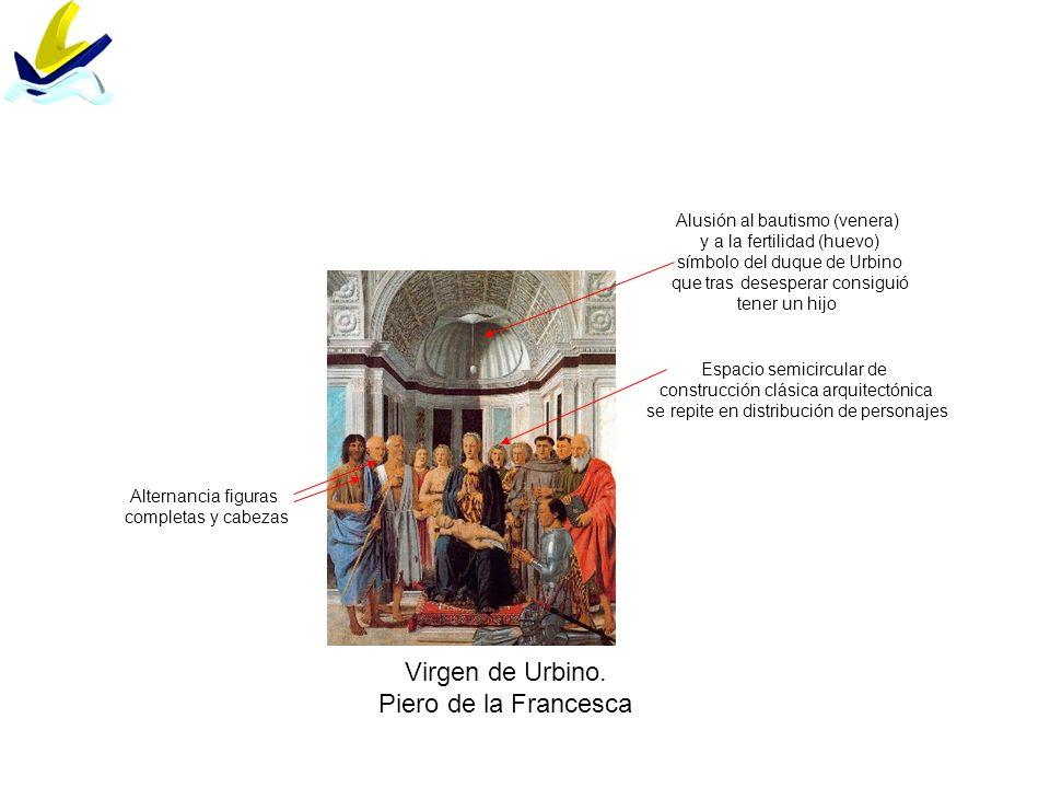 Virgen de Urbino. Piero de la Francesca Alternancia figuras completas y cabezas Espacio semicircular de construcción clásica arquitectónica se repite