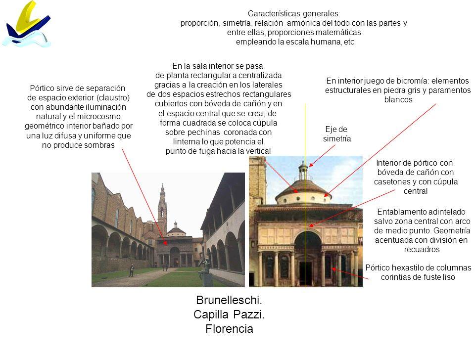 Brunelleschi. Capilla Pazzi. Florencia Pórtico hexastilo de columnas corintias de fuste liso Entablamento adintelado salvo zona central con arco de me