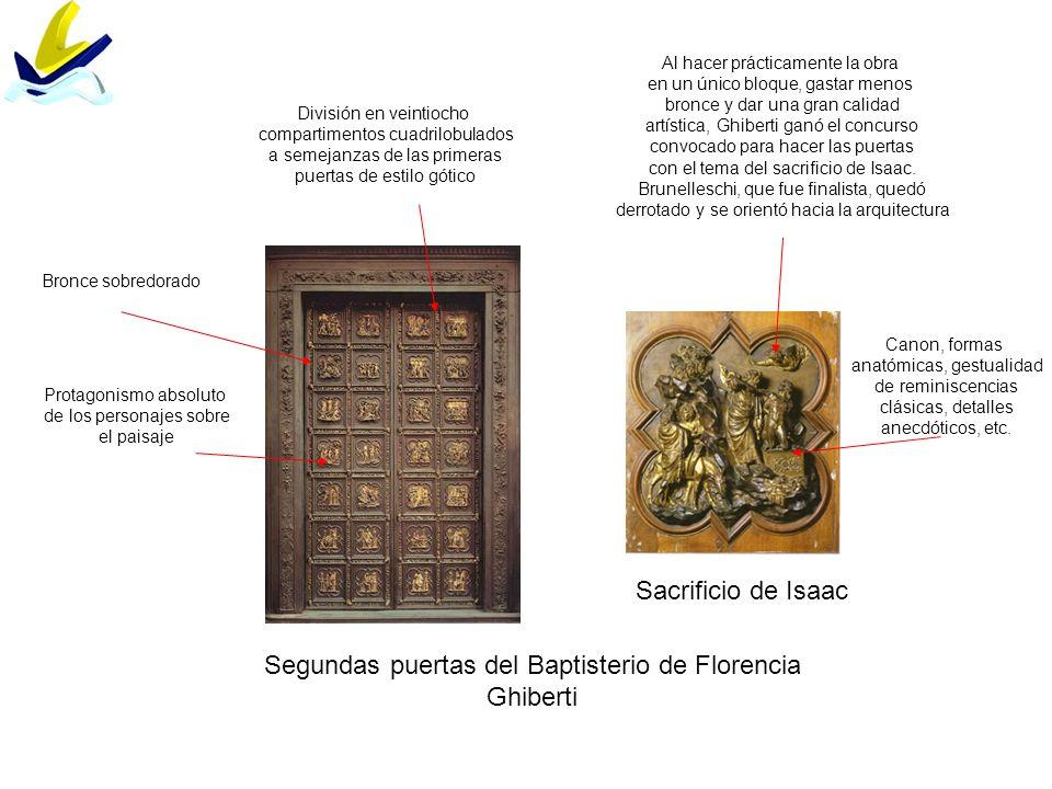 Segundas puertas del Baptisterio de Florencia Ghiberti Sacrificio de Isaac División en veintiocho compartimentos cuadrilobulados a semejanzas de las p