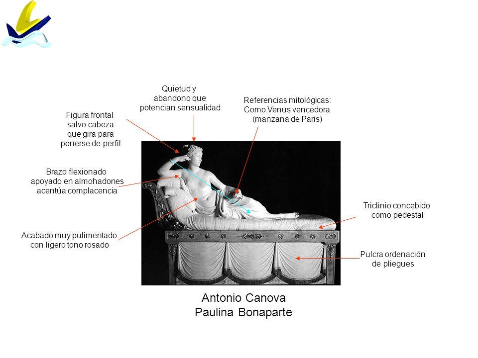 Antonio Canova Paulina Bonaparte Referencias mitológicas: Como Venus vencedora (manzana de Paris) Figura frontal salvo cabeza que gira para ponerse de
