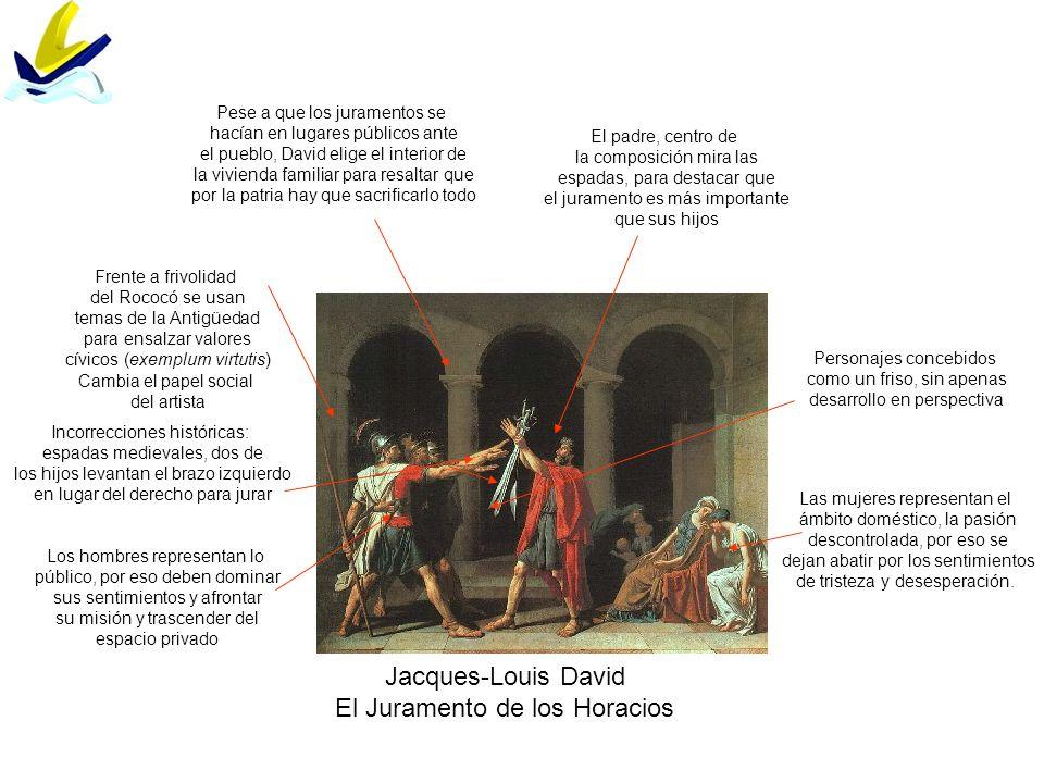 Jacques-Louis David El Juramento de los Horacios Frente a frivolidad del Rococó se usan temas de la Antigüedad para ensalzar valores cívicos (exemplum