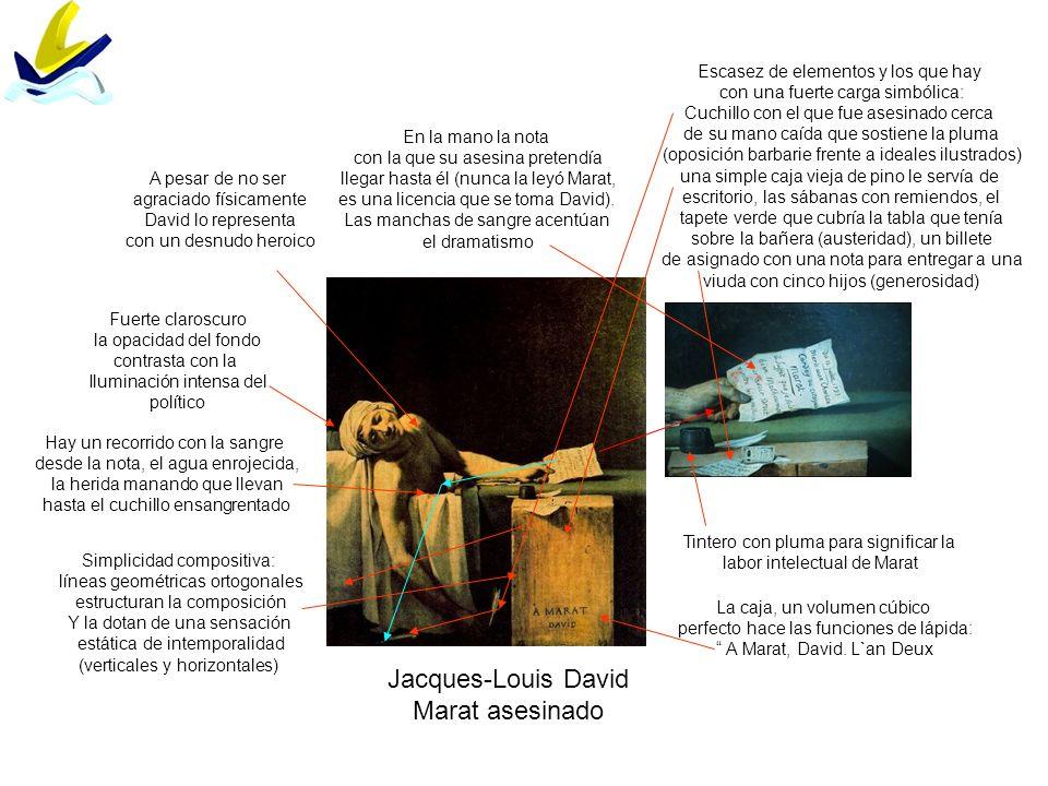 Jacques-Louis David Marat asesinado Simplicidad compositiva: líneas geométricas ortogonales estructuran la composición Y la dotan de una sensación est