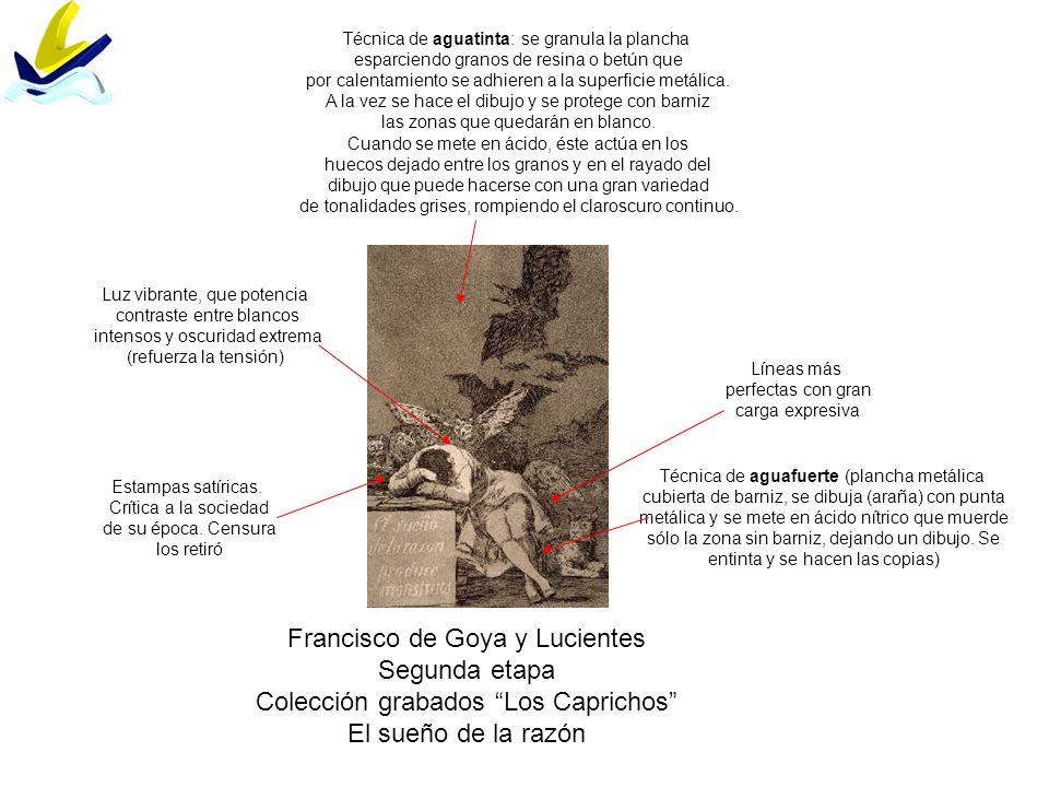 Francisco de Goya y Lucientes Segunda etapa Colección grabados Los Caprichos El sueño de la razón Técnica de aguafuerte (plancha metálica cubierta de