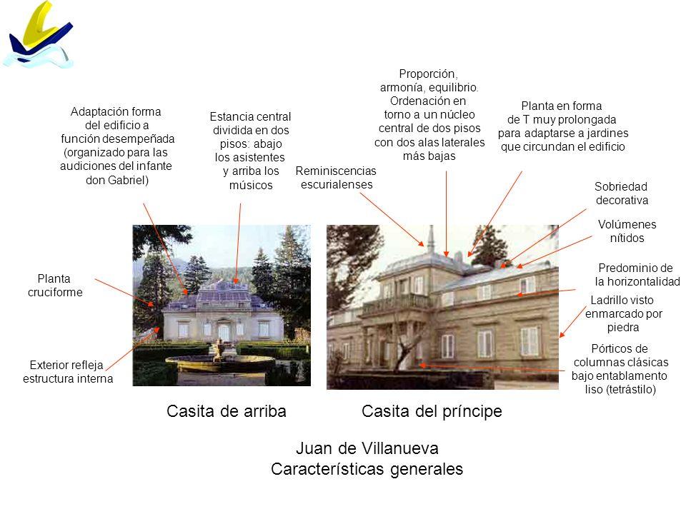 Casita de arribaCasita del príncipe Juan de Villanueva Características generales Volúmenes nítidos Adaptación forma del edificio a función desempeñada