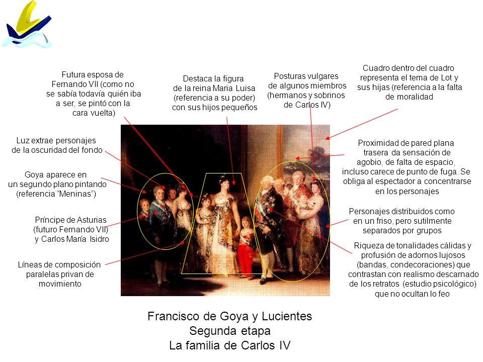 Francisco de Goya y Lucientes Segunda etapa La familia de Carlos IV Personajes distribuidos como en un friso, pero sutilmente separados por grupos Pro
