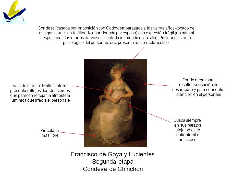 Francisco de Goya y Lucientes Segunda etapa Condesa de Chinchón Fondo negro para resaltar sensación de desamparo y para concentrar atención en el pers
