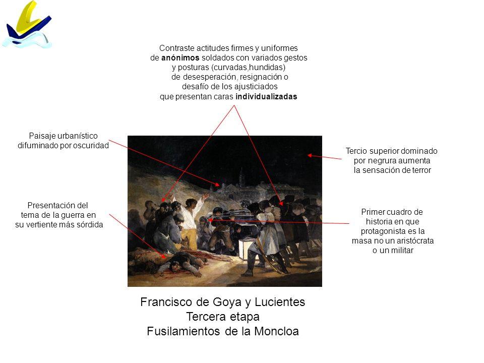 Francisco de Goya y Lucientes Tercera etapa Fusilamientos de la Moncloa Contraste actitudes firmes y uniformes de anónimos soldados con variados gesto
