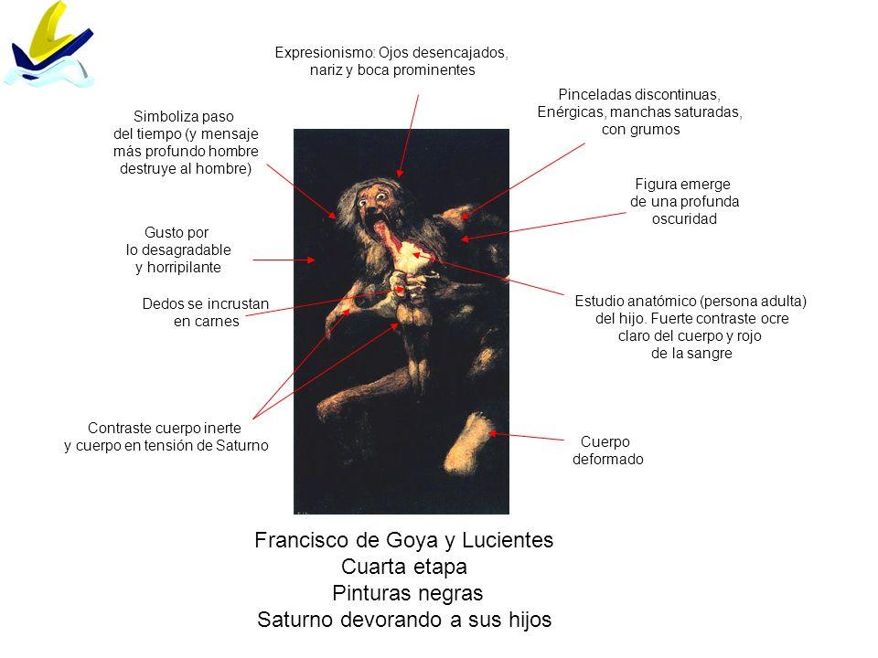 Francisco de Goya y Lucientes Cuarta etapa Pinturas negras Saturno devorando a sus hijos Expresionismo: Ojos desencajados, nariz y boca prominentes Es