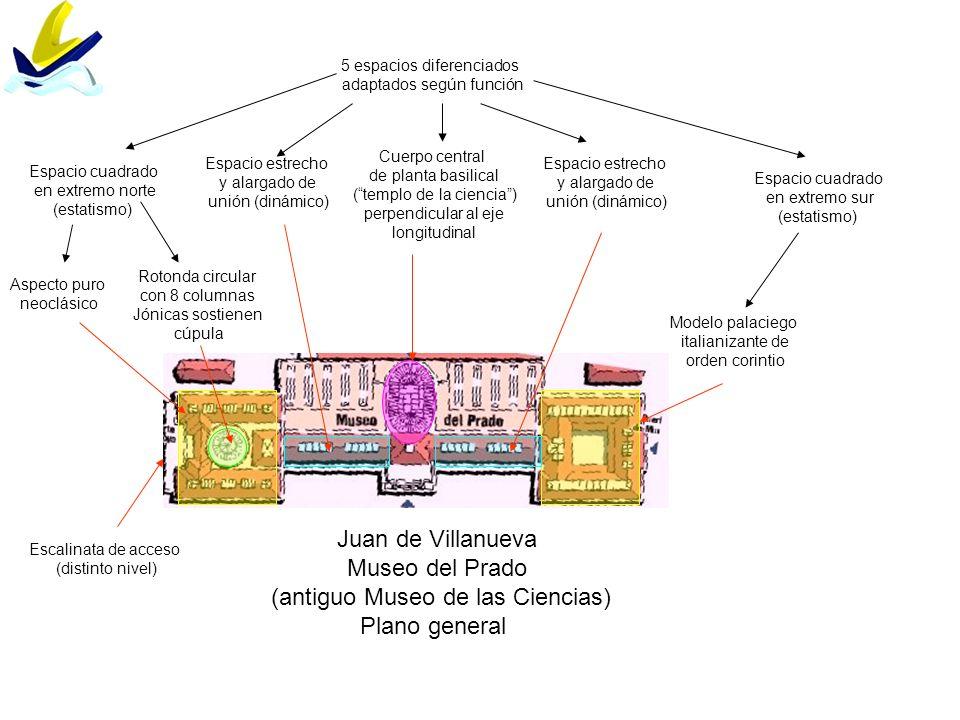 Juan de Villanueva Museo del Prado (antiguo Museo de las Ciencias) Plano general 5 espacios diferenciados adaptados según función Espacio cuadrado en