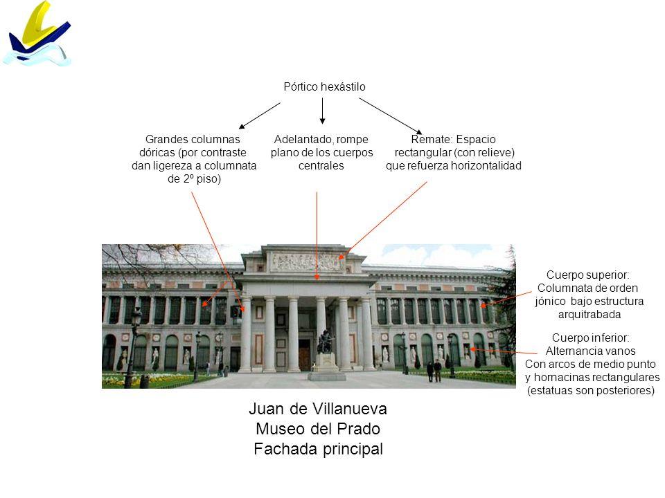 Juan de Villanueva Museo del Prado Fachada principal Cuerpo inferior: Alternancia vanos Con arcos de medio punto y hornacinas rectangulares (estatuas