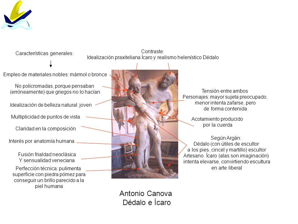 Antonio Canova Dédalo e Ícaro Contraste: Idealización praxiteliana Ícaro y realismo helenístico Dédalo Tensión entre ambos Personajes: mayor sujeta pr