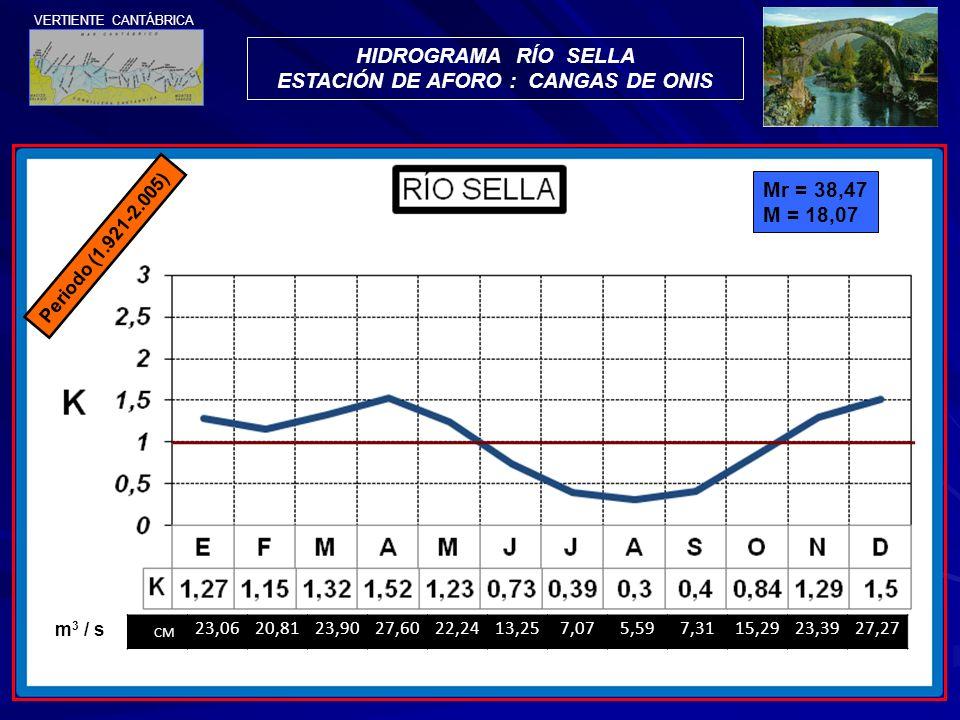 Periodo (1.921-2.005) HIDROGRAMA RÍO SELLA ESTACIÓN DE AFORO : CANGAS DE ONIS CM 23,0620,8123,9027,6022,2413,257,075,597,3115,2923,3927,27 m 3 / s Mr