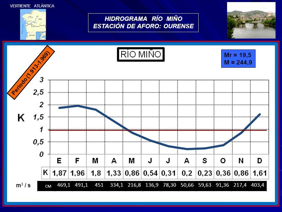 Periodo (1.913-1.969) Mr = 19,5 M = 244,9 CM 469,1491,1451334,1216,8136,978,3050,6659,6391,36217,4403,4 m 3 / s HIDROGRAMA RÍO MIÑO ESTACIÓN DE AFORO: