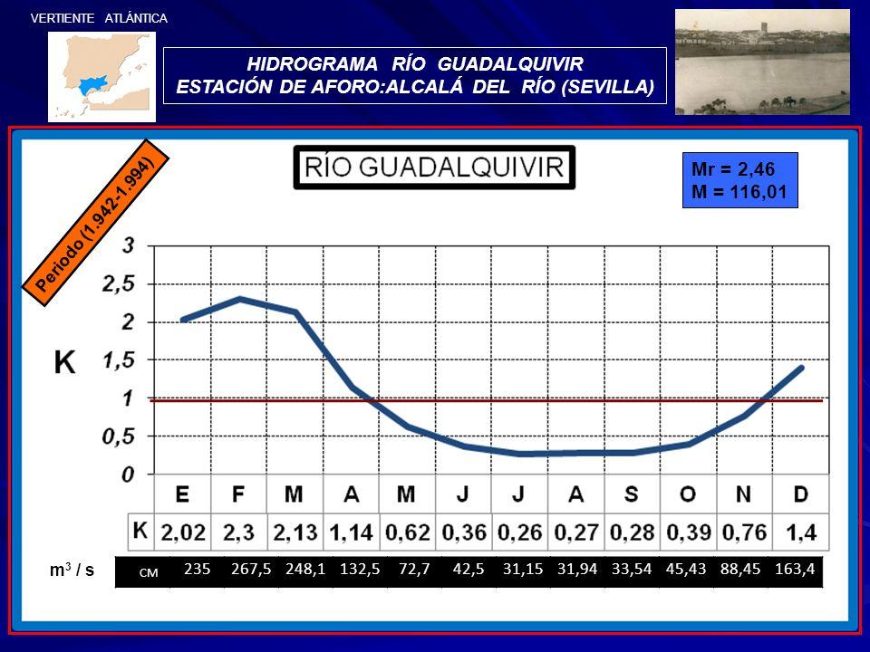 HIDROGRAMA RÍO GUADALQUIVIR ESTACIÓN DE AFORO:ALCALÁ DEL RÍO (SEVILLA) VERTIENTE ATLÁNTICA Periodo (1.942-1.994) Mr = 2,46 M = 116,01 CM 235267,5248,1