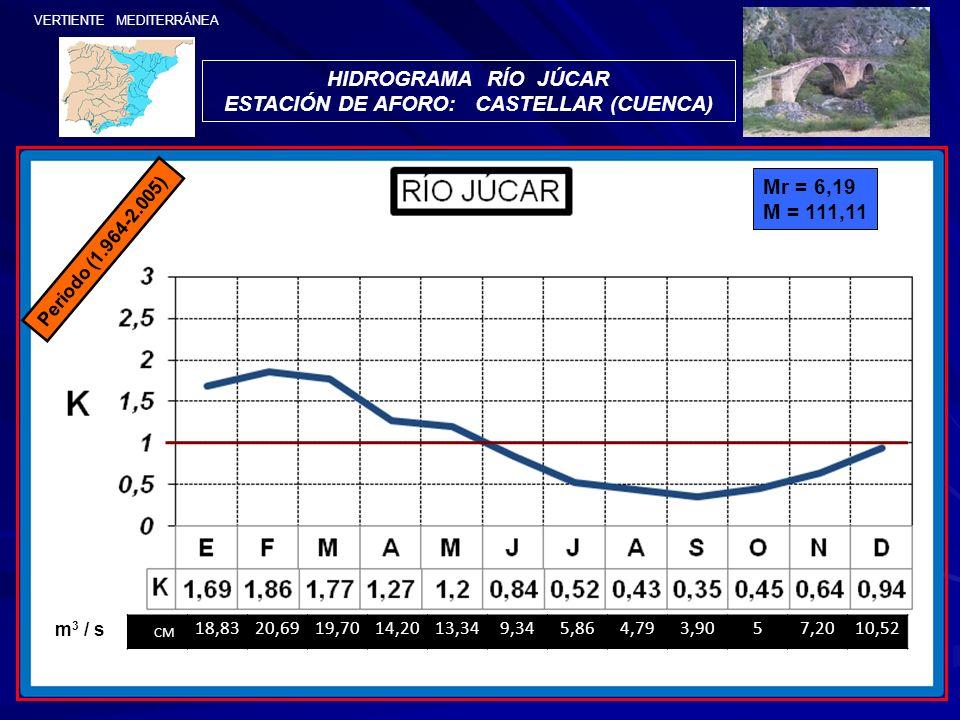 VERTIENTE MEDITERRÁNEA HIDROGRAMA RÍO JÚCAR ESTACIÓN DE AFORO: CASTELLAR (CUENCA) Periodo (1.964-2.005) Mr = 6,19 M = 111,11 CM 18,8320,6919,7014,2013