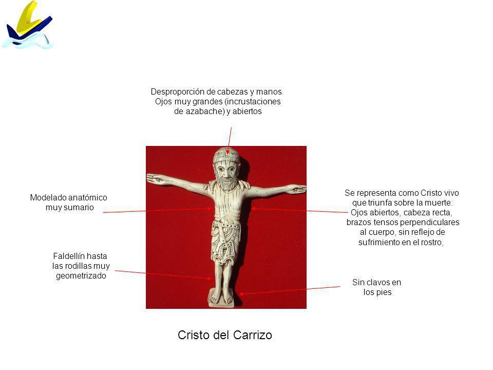 Virgen con niño Virgen trono de Dios: hieratismo, rigidez, simetría, simplificación de los volúmenes, falta de comunicación madre hijo, hijo presentado como Dios mayestático no como niño, etc.