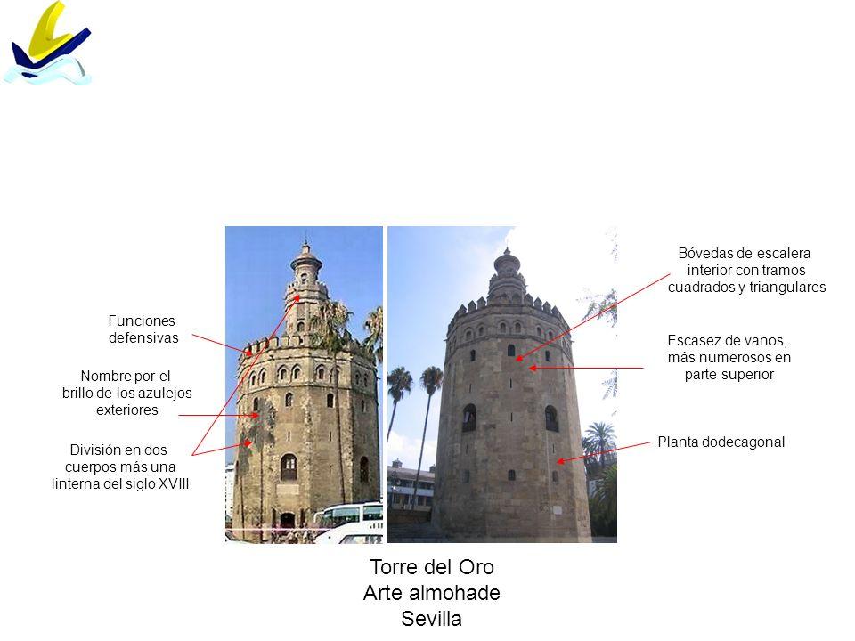 Torre del Oro Arte almohade Sevilla División en dos cuerpos más una linterna del siglo XVIII Planta dodecagonal Escasez de vanos, más numerosos en par