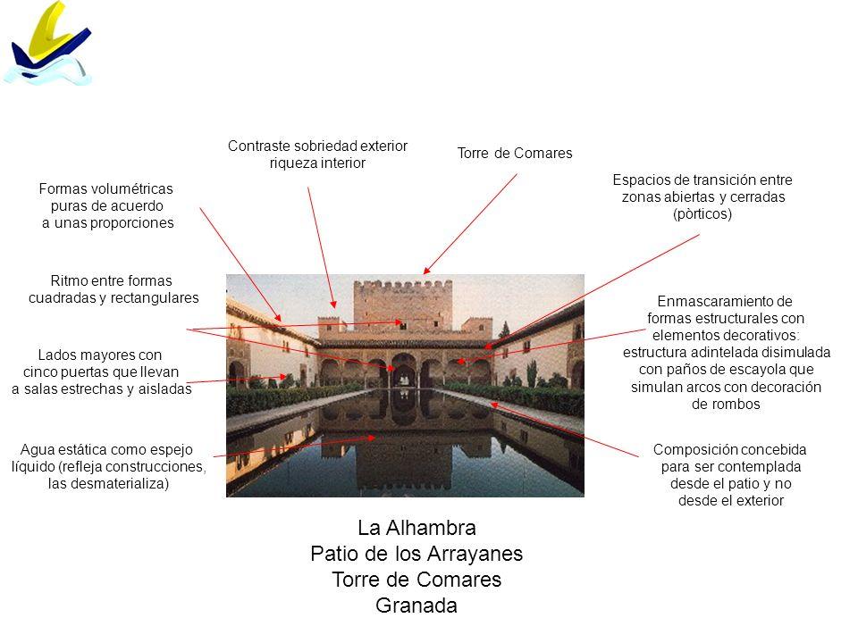 La Alhambra Patio de los Arrayanes Torre de Comares Granada Contraste sobriedad exterior riqueza interior Torre de Comares Espacios de transición entr