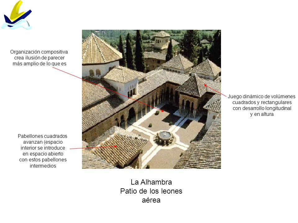 La Alhambra Patio de los leones aérea Juego dinámico de volúmenes cuadrados y rectangulares con desarrollo longitudinal y en altura Pabellones cuadrad