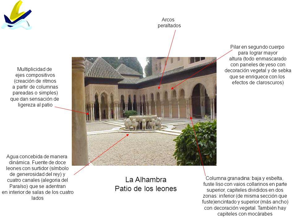 La Alhambra Patio de los leones Columna granadina: baja y esbelta, fuste liso con vaios collarinos en parte superior, capiteles divididos en dos zonas