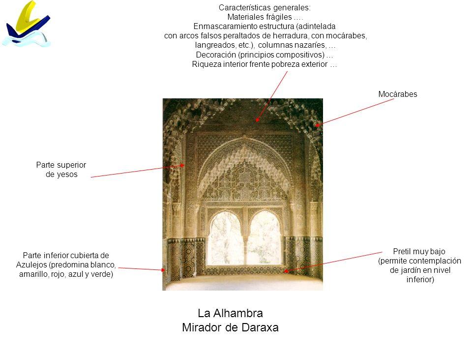 La Alhambra Mirador de Daraxa Parte inferior cubierta de Azulejos (predomina blanco, amarillo, rojo, azul y verde) Características generales: Material