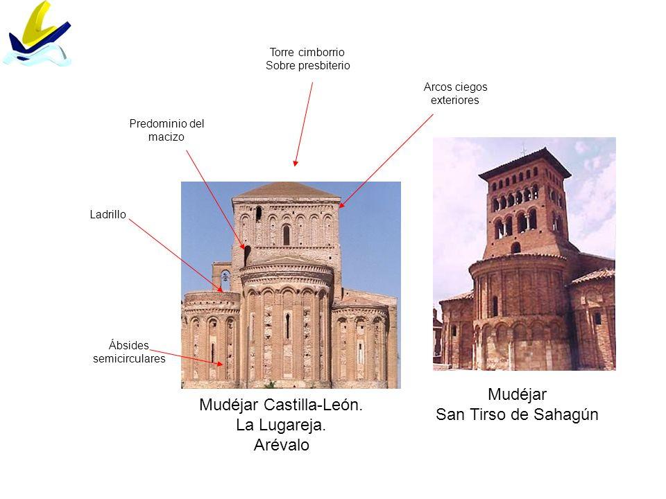 Mudéjar Castilla-León. La Lugareja. Arévalo Ábsides semicirculares Torre cimborrio Sobre presbiterio Ladrillo Arcos ciegos exteriores Predominio del m