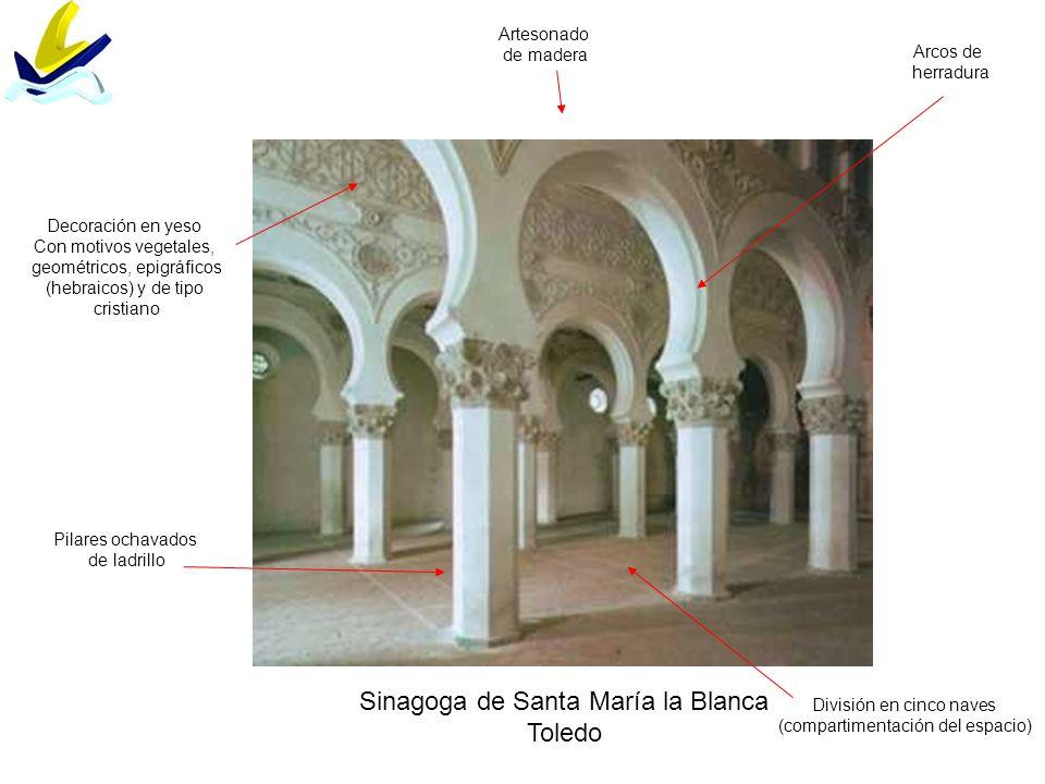 Sinagoga de Santa María la Blanca Toledo División en cinco naves (compartimentación del espacio) Pilares ochavados de ladrillo Decoración en yeso Con