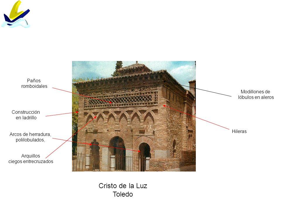 Arquillos ciegos entrecruzados Paños romboidales Modillones de lóbulos en aleros Cristo de la Luz Toledo Hileras Construcción en ladrillo Arcos de her