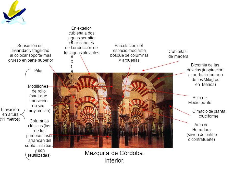 Mezquita de Córdoba. Interior. Columnas clásicas (las de las primeras fases arrancan del suelo – sin basa- y son reutilizadas) Pilar Modillones de rol