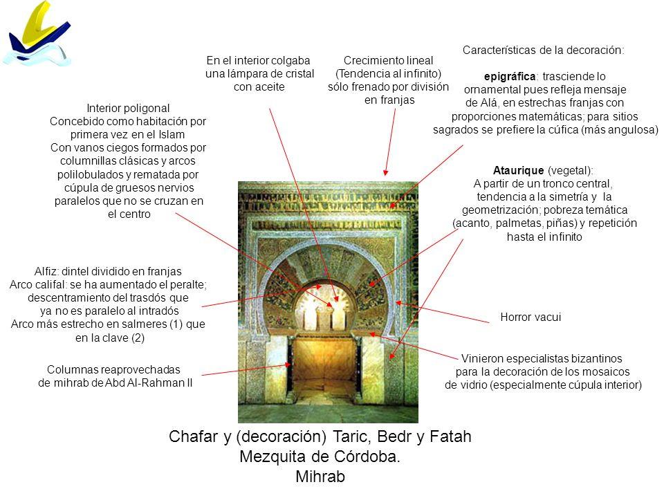 Chafar y (decoración) Taric, Bedr y Fatah Mezquita de Córdoba. Mihrab Características de la decoración: epigráfica: trasciende lo ornamental pues refl
