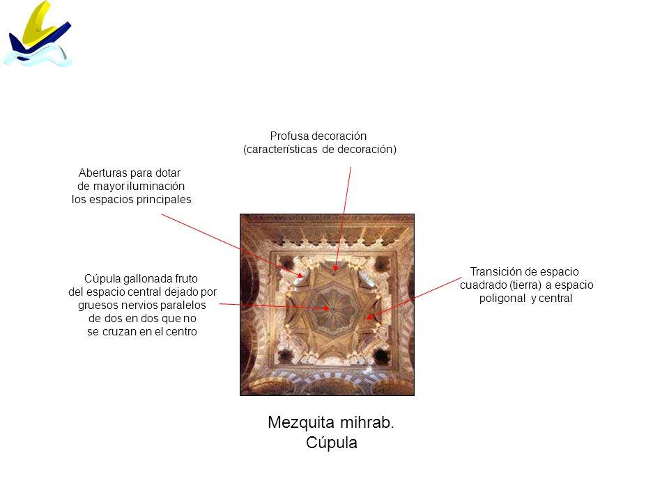 Madinat Al-Zahra Salón rico División en cinco naves las dos finales semiocultas por muros pantallas Arcos califales Columnas clásicas con capiteles de técnica a trépano Profusa decoración (características generales)
