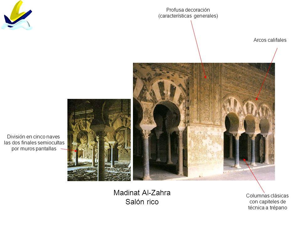 Madinat Al-Zahra Salón rico División en cinco naves las dos finales semiocultas por muros pantallas Arcos califales Columnas clásicas con capiteles de