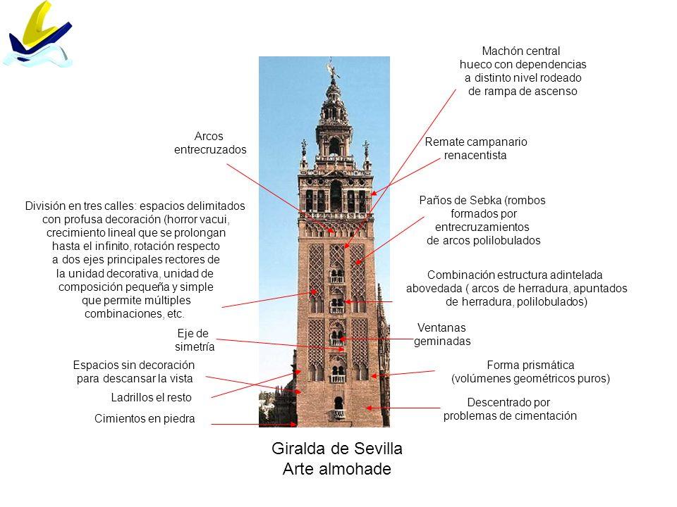 Giralda de Sevilla Arte almohade Cimientos en piedra Ladrillos el resto Paños de Sebka (rombos formados por entrecruzamientos de arcos polilobulados A
