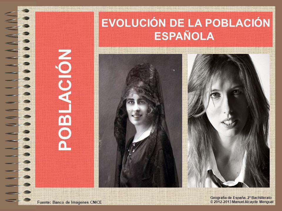 POBLACIÓN EVOLUCIÓN DE LA POBLACIÓN ESPAÑOLA Fuente: Banco de Imágenes CNICE Geografía de España. 2º Bachillerato © 2012-2013 Manuel Alcayde Mengual