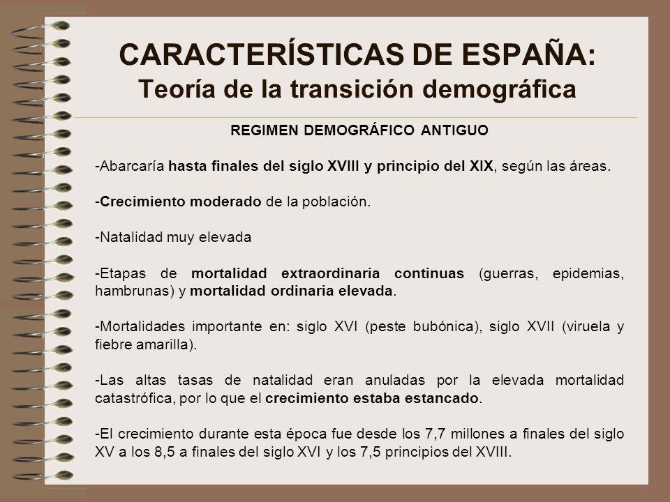 CARACTERÍSTICAS DE ESPAÑA: Teoría de la transición demográfica REGIMEN DEMOGRÁFICO ANTIGUO -Abarcaría hasta finales del siglo XVIII y principio del XI
