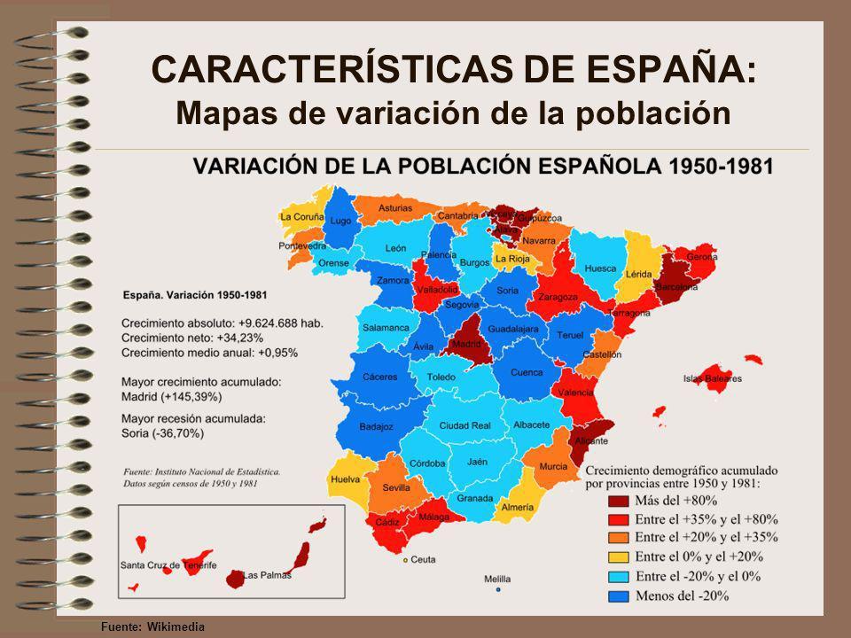 CARACTERÍSTICAS DE ESPAÑA: Mapas de variación de la población Fuente: Wikimedia