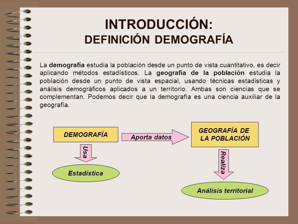 INTRODUCCIÓN: DEFINICIÓN DEMOGRAFÍA La demografía estudia la población desde un punto de vista cuantitativo, es decir aplicando métodos estadísticos.
