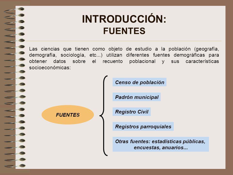 INTRODUCCIÓN: FUENTES Las ciencias que tienen como objeto de estudio a la población (geografía, demografía, sociología, etc...) utilizan diferentes fu