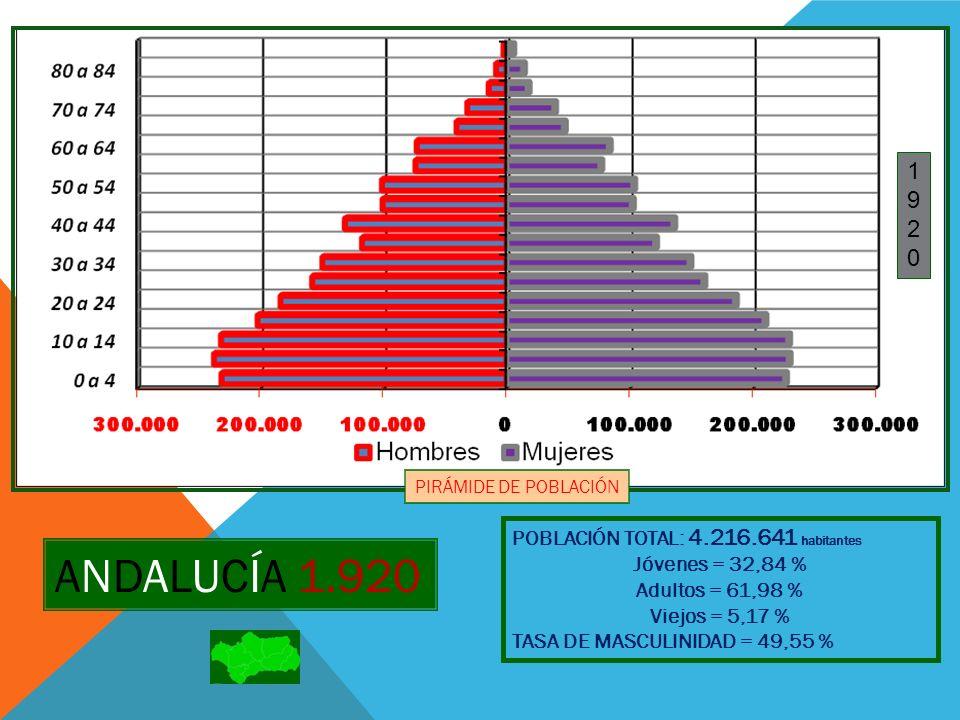 ANDALUCÍA 1.930 POBLACIÓN TOTAL: 4.607.956 habitantes Jóvenes = 33,26 % Adultos = 61,31 % Viejos = 5,42 % TASA DE MASCULINIDAD = 49,62 % 19301930 PIRÁMIDE DE POBLACIÓN